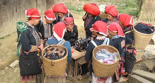 Women near Sapa Vietnam learning how to sew